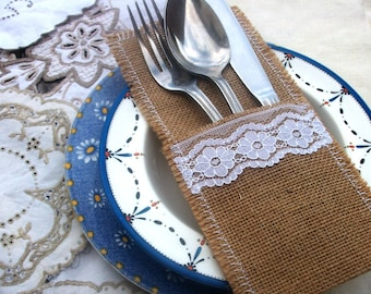 Cutlery/Silverware Holders with Appliqued  White Lace - set of six