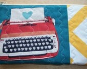 Quilted Typewriter Zipper Pouch, Pencil Case or Cosmetic Bag