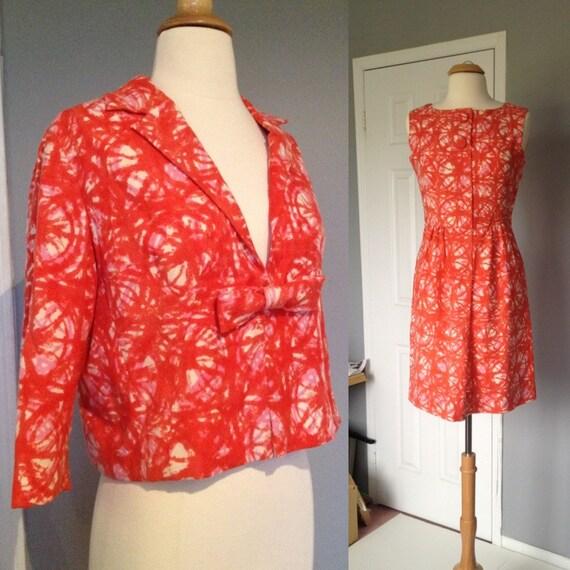 1960s WIGGLE DRESS Coral 2 Piece Medium Mad Men Style Secretary Dress and Jacket Vintage