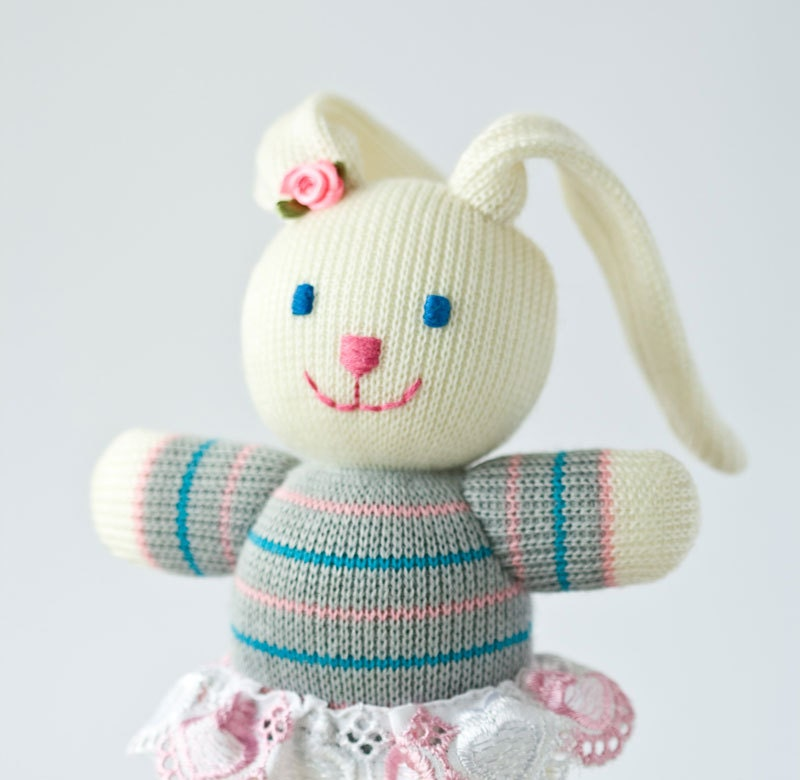 Dog Sweater Patterns Knitting : Baby Bunny Knitted Toy Knitted Animal Easter gift by FrejaToys