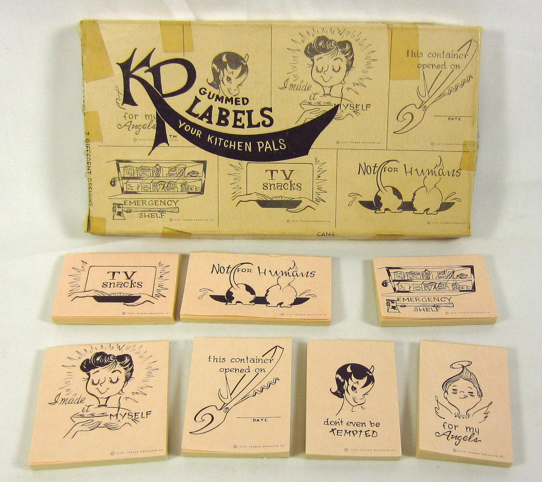 Vintage Kitchen Labels 1950s Kitchen Retro By SkippiDiddle