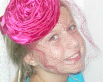 Vintage Pink Pill Hat with Veil Pink Fascinator Hat with netting Red Pink Bridal Veil