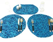 BIG SALE, Crochet placemat, table mat, place mat, plate holder. Blue placemat, Set of two placemat, Blue service set, Kitchen Gifts