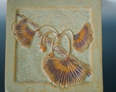 Arts & Crafts Style Relief Tile Ginkgo Leaves Branch