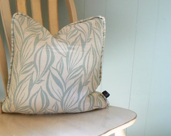 Pillow 27: Sea blue and cream modern print pillow cover with insert. 18 inch square