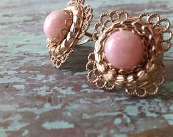 Vintage Baby Pink and Brass Filigree Screwback Earrings