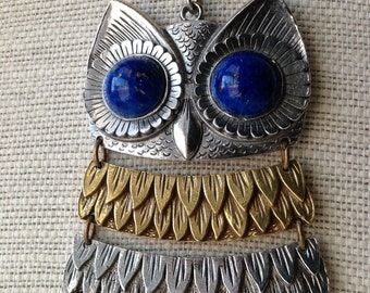 Lapis Eyed Giant Owl Necklace - Mixed Metal Owl Pendant Statement Necklace