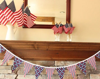 AMERICAN FLAG FABRIC garland -- patriotic pennant fabric flag banner -- nautical fabric bunting -- July 4 pennant garland -- 9 feet