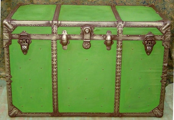 Repainted Lime Green Antiqued.  Interior Original Red Paint