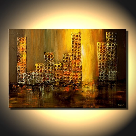 Original Palette Knife Urban Painting Original Abstract Art on Canvas by Osnat 36x24
