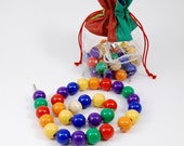 The colorful wooden beads
