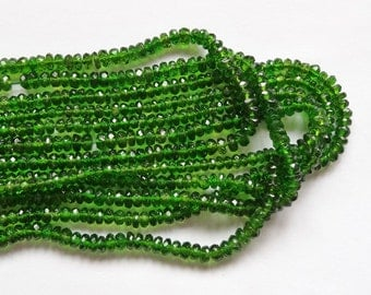 "GEM quality Electric Green Natural Chrome Diopside Faceted Rondelles 3-3.5 mm 3.5"" strand"