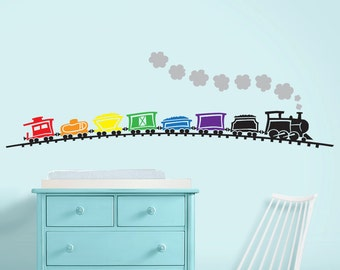 Train Nursery Decal - Train Nursery Art - Nursery Wall Decor over 6 ft wide - Rainbow Train Wall Decal
