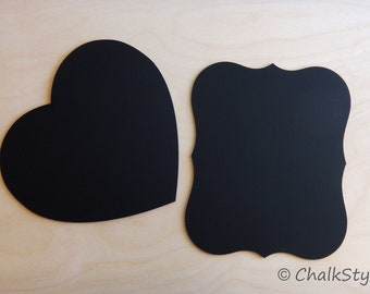 Set of 2 CHALKBOARDS Large HEART and Scroll Chalk Board for Wedding Decor or Photo Booth Prop, Engagement Pictures Props Chalk Board Signs