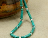Turquoise Tube Necklace with Sterling Silver, Strand Necklace, Southwestern Necklace, December Birthstone