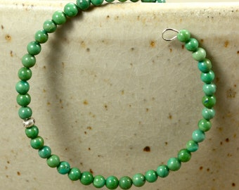 Turquoise Memory Wire Bracelet with Hill Tribe Silver, December Birthstone