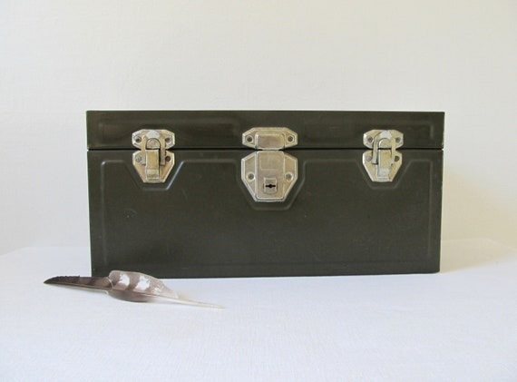 Vintage Green Metal Utility Storage or Tool Box with Tray