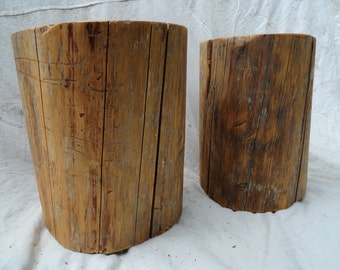 Pair of hardwood stump tables