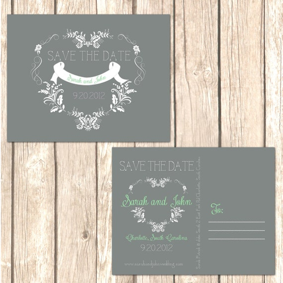Whimsical Heart Save the Date Cards and Announcements-This Postcard style save the date saves money on envelopes and postage