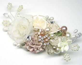 Blush Hair Accessories- Ivory Hair Clip- Floral Wedding Hair Accessories- Wedding Hair Accessories- Bridal Flower Hair Clip - Brass Boheme