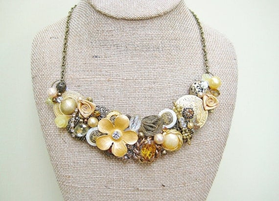 Large Vintage Mustard Yellow Statement Necklace- Yellow Bridesmaid Necklace- Goldenrod Jewelry- Lemon and Bronze Bib Necklace