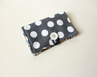 Grey White Polka Dot Fabric Business Card Holder, with Grey, Yellow, White Stripes - Credit Card Holder, Cloth Card Holder, Gift Card Holder