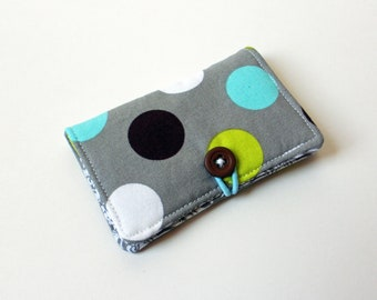 Grey, Blue, Green, White Polka Dot Fabric Business Card Holder, with Grey Damask - Credit Card Holder, Cloth Card Holder, Gift Card Holder