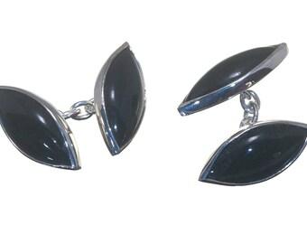 Black Onyx Cufflinks Double Lozenge Shape Sterling Silver 925