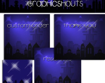 Premade Etsy Shop Set Banner and Avatars - City at Night - Starlight Urban cover banner