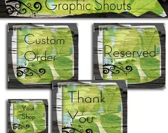 Premade Etsy Shop Banner and Avatar Set -  Wood  Grunge Scroll Boutique Leaf Set cover banner