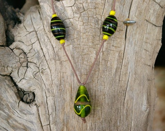 """24"""" Green and Yellow Glass Bead Necklace"""
