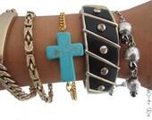 Sideways Turquoise Cross Bracelet