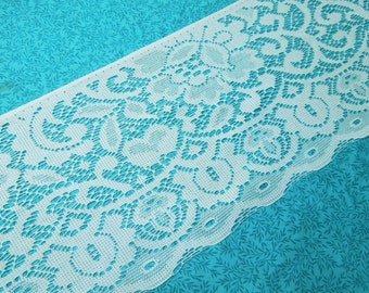 1 yard of 7 inch vintage white chantilly lace trim for sewing, crafts, commercial, valentines, romantic, couture by MarlenesAttic - Item TB