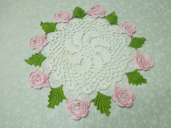 Vintage 10 inch white hand crochet doily with pink roses for sewing, housewares, handbags, pillows, home decor MarlenesAttic