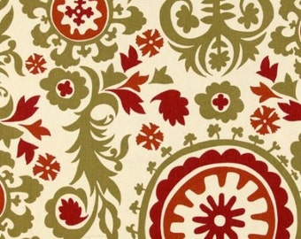 Premier Prints Damask Fabric Suzani Autumn Natural Green Red and Cream Print 1yd piece