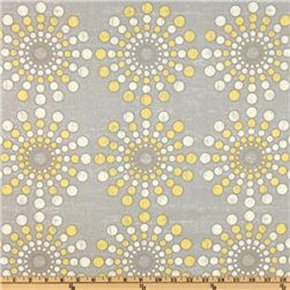 waverly circular motion gray and yellow fabric by slateandbundled. Black Bedroom Furniture Sets. Home Design Ideas