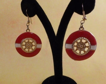 Reduced Red Nautical Pierced earrings. (P95)