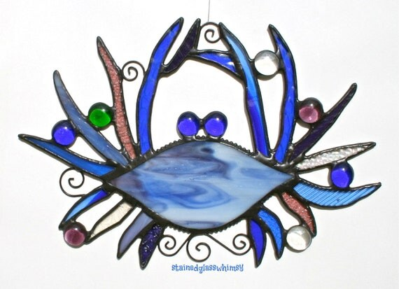 Stained Glass BLUE CRAB Whimsy Suncatcher - Cobalt Blues, Purples, Iridescent Clears - USA Original Design