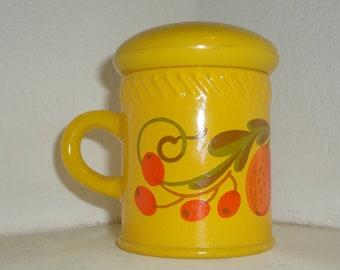 Avon Patch Work Collection Bright Yellow Orange Fruit Moonwind Powder Sachet