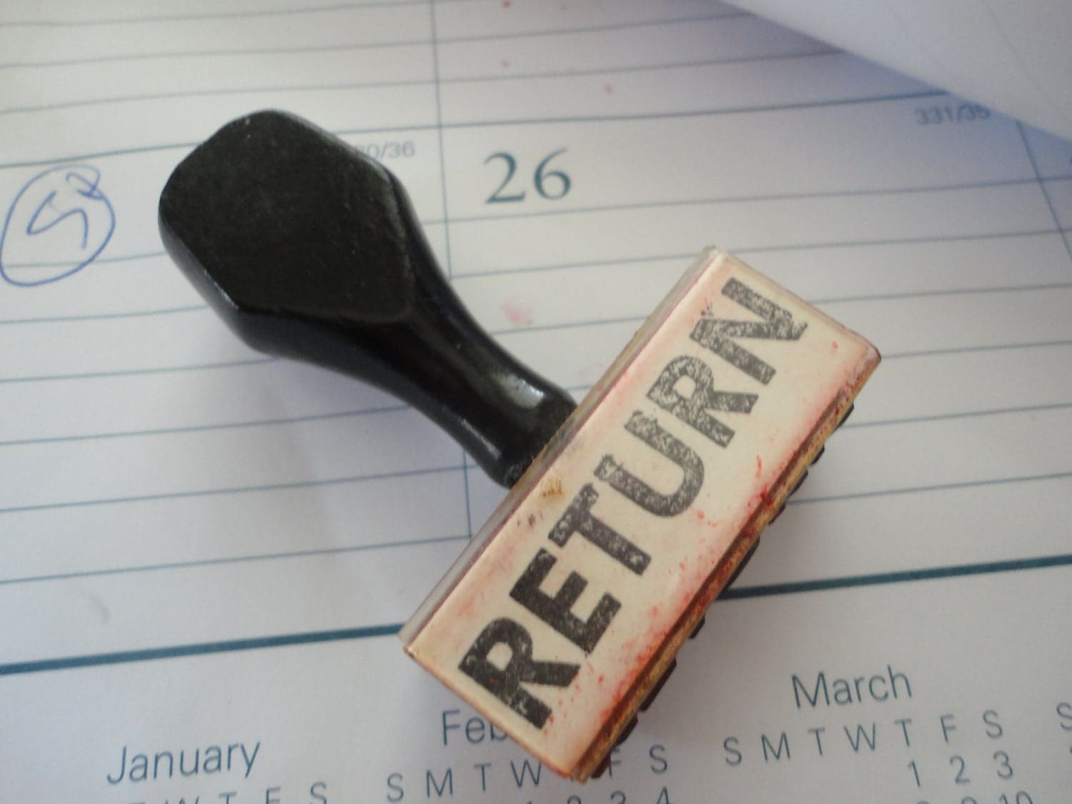 vintage rubber stamp RETURN used to mark by ...