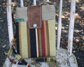 Cross Body Bag / Kindle Nook EReader Case / Small Travel Purse / Sling Purse / Burlap Coffee Sack Purse