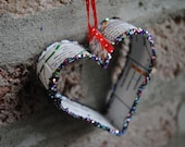 Boston T recycled Subway map Christmas Ornament-Small Heart
