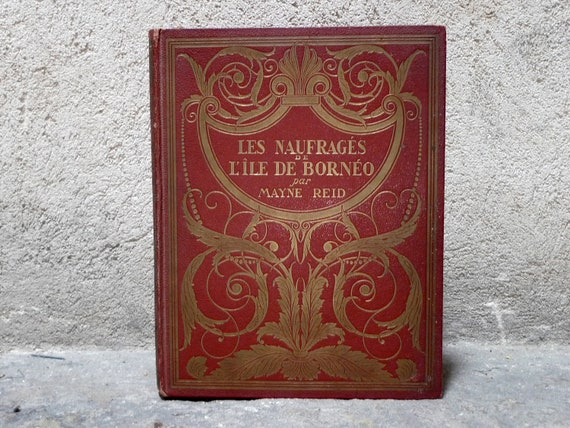Vintage French Guestbook or Sketchbook in Red and Gold Personalized