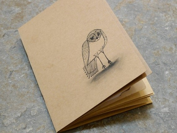 Upcycled Journal, Notebook, Mixed Paper and Retro Owl Stamp . Artist Sketchbook. Stationery
