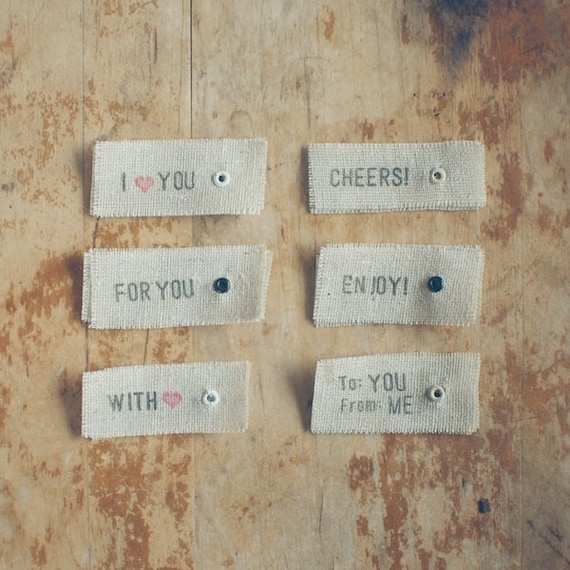 12 Small Linen Eyelet Hand-Stamped Gift Tags for Holidays and Presents