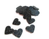 300 Piece Black Glitter Confetti - Bridal Shower, Table Decor, Table Bling, Bachelorette Party, Black Glitter Hearts, Envelope Confetti