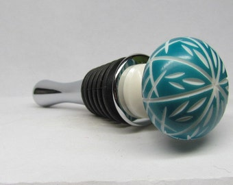 Etched Turquoise Wine Bottle Stopper