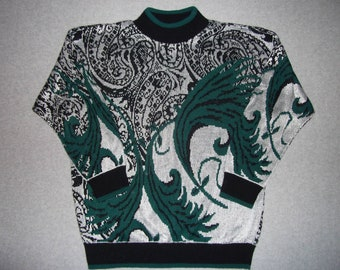 Vintage 80s 90s Hipster Paisley Sweater 1980s 1990s Abstract Tacky Gaudy Ugly Christmas Party Halloween Costume Winter Warm M Medium L Large