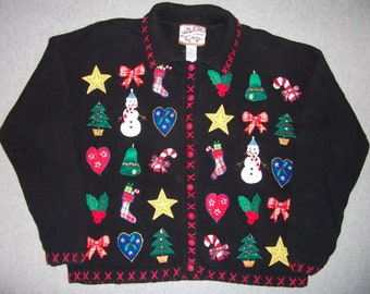 Hipster Amazing Christmas Party Sweater Winter Warm Wonderland Tacky Gaudy Ugly X-Mas Stars Hearts Snowmen Contest Winner L Large
