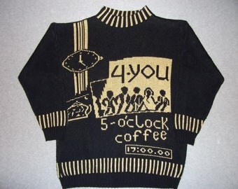 80s Hipster 5 O'Clock Coffee 4-You Barista Sweater Wedding Tacky Gaudy Ugly Christmas Party X-Mas Made In USA Holiday Winter 1980s M Medium